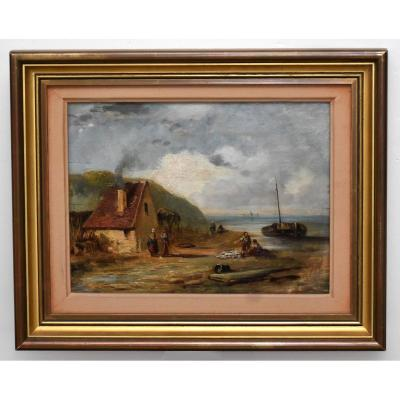 Marine, French School Of The XIXth, Seaside Landscape, Boats And Fishermen.