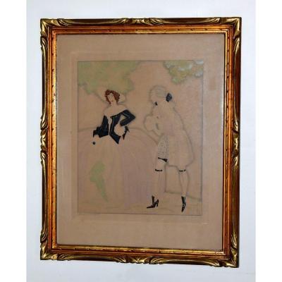 Sylvain Sauvage (1888-1948) Félix Roy,  Epreuve d'artiste  Aquarellée, Scène Galante .