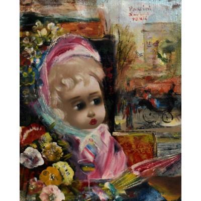 Santini Poncini , Portrait d' Enfant, petite fille au visage De Porcelaine,  Vue De Paris,  vers 1950.