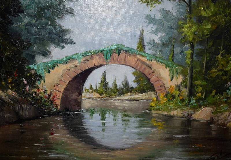 Framed Painting, Oil On Canvas, Bridge And River Landscape.-photo-3