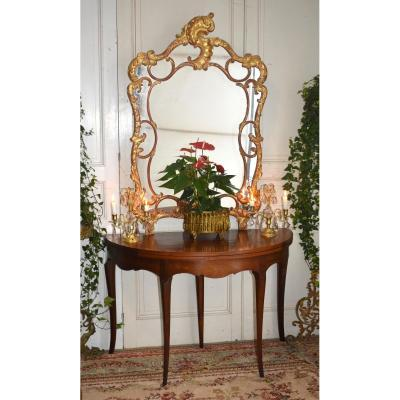 Louis XV Style Half Moon Game Table Forming Console.