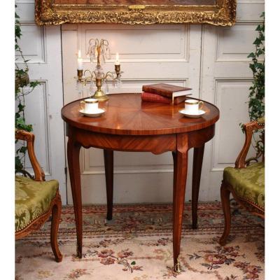Guéridon  De Salon En Marqueterie De Soleil, Table Basse De Milieu . Style Louis XV.