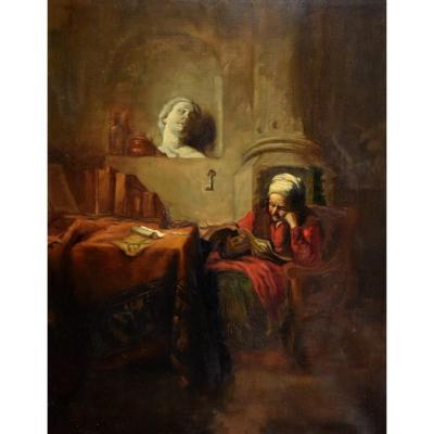 Ecole Du Nord Du XIXe siècle, Vieille femme à la lecture dans son intérieur .