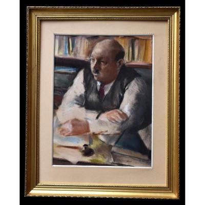 Edmond Amédée Heuzé (1884-1967). Pastel, Portrait De Maurice Bigot Directeur du journal l'Intransigeant, Presse .