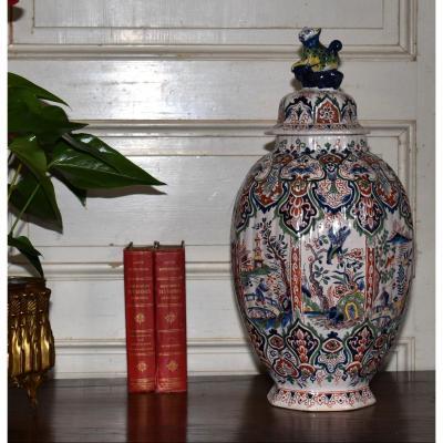 Vase Couvert Ou  Grande Potiche En Faïence De Desvres, Louis François Fourmaintraux-hornoy .