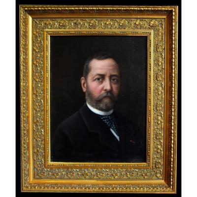 Winckler Olof  ( Ou  Winkler ) 1843 - 1895. Portrait d'Un élégant; Homme à La Barbe.