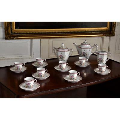 A. Chastagner. Porcelaine De Limoges. Service à Café Décor Floral. Bouquet De Fleurs Et Filets