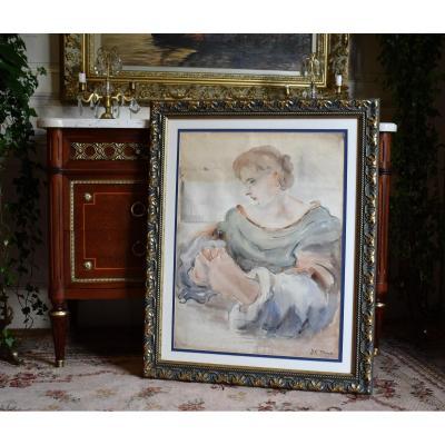 """Jean François Thomas ( 1894-1939) portrait de femme intitulé """"réflexion"""" grande aquarelle de 1935."""