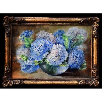 Les Hortensias , Bouquet De Fleurs , Aquarelle  Signée,  Cadre mouluré et Doré.