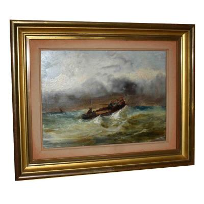 Marine, French School Of The Nineteenth, Boat In The Storm, Raging Sea.