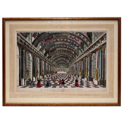 """Vue d' optique XVIIIe. Gravure aquarellée de  """" la superbe galerie  de Pétersbourg en Russie."""