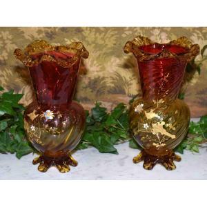 Paire De Vases émaillés, Legras -  Montjoye , Saint-denis, Art Nouveau, Vers 1900.