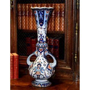 Large Earthenware Vase From Quimper, La Hubaudière, Late Nineteenth - Early Twentieth, Rouen Decor.