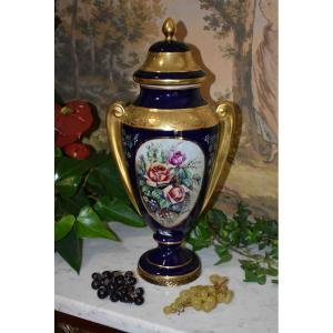 S. Clavaud - André  Provot, Grand Vase Couvert, Potiche En Porcelaine De Limoges, Bleu De Four