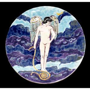 Ernestine Sirine Réal ( 1899-1994) Assiette Décorative , décor naïf. scène de la mythologie Gréco-romaine, Grèce antique.