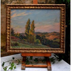 """Gaston Pastré ( 1881-1947 )  Tableau,  Huile Sur Panneau,  Paysage Intitulé  """" septembre en Dordogne """" et tampon d'exposition à la Galerie A. Drouant."""
