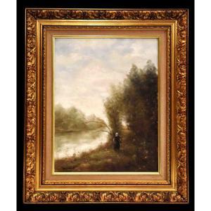 Berthaux, Animated Landscape, Oil Painting On Canvas, Riverside,