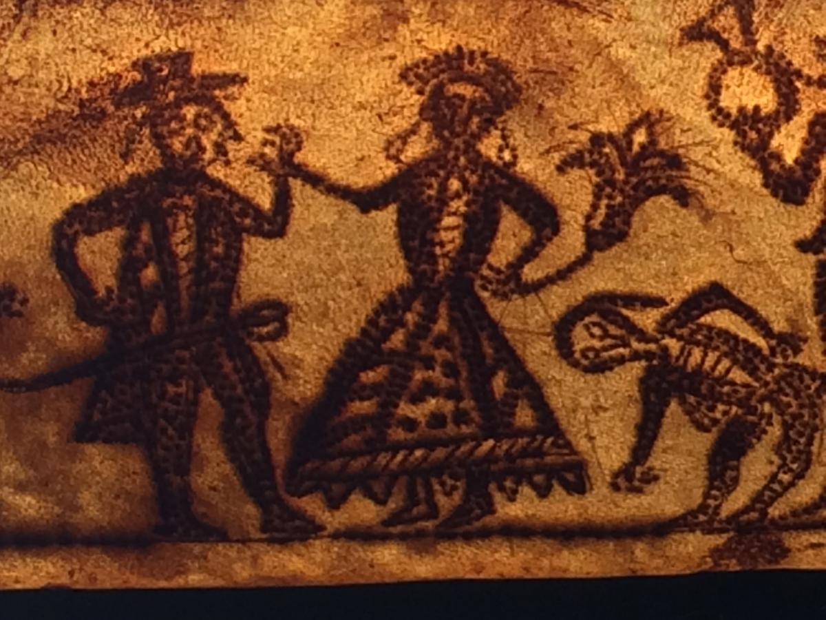 In 1670 American Box Parchment Folk Art
