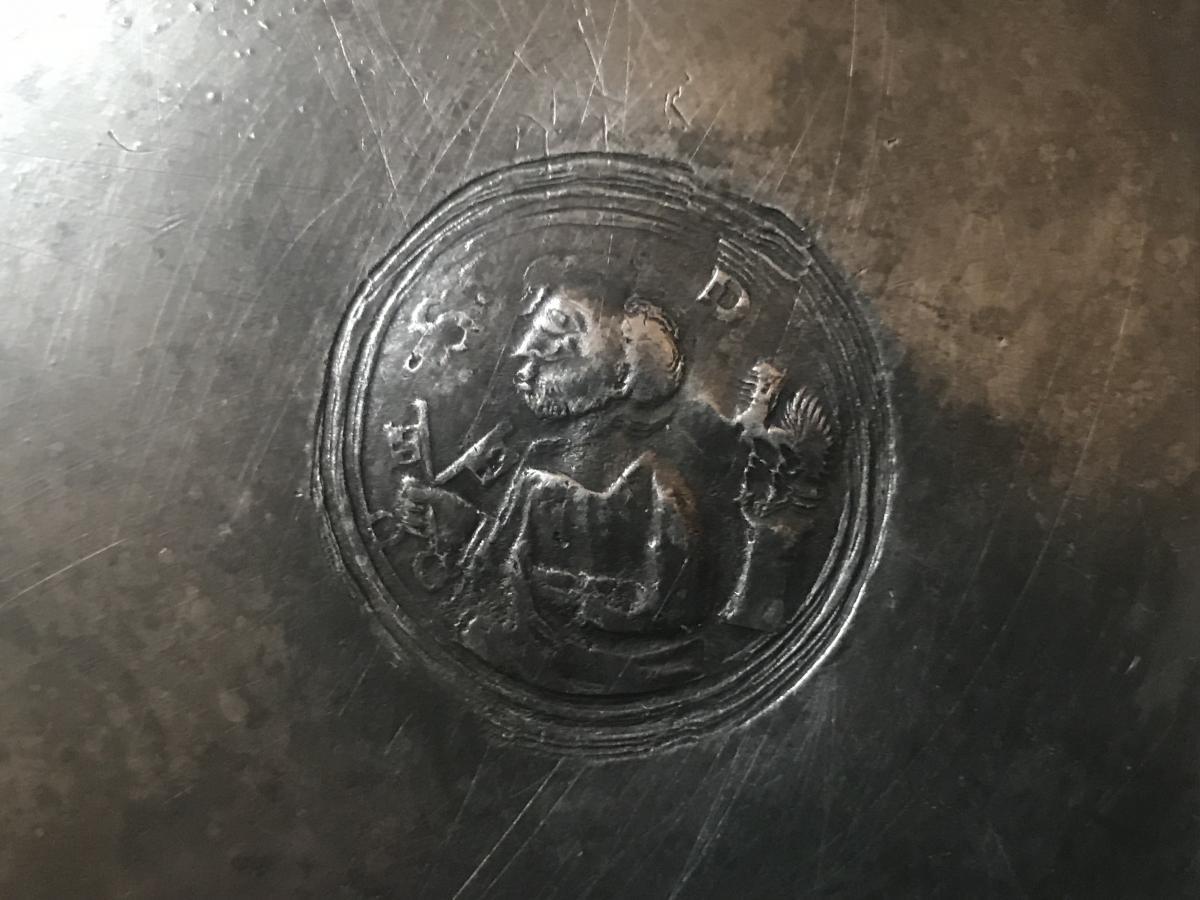 Plat De Quête De Saint Pierre En étain 18eme