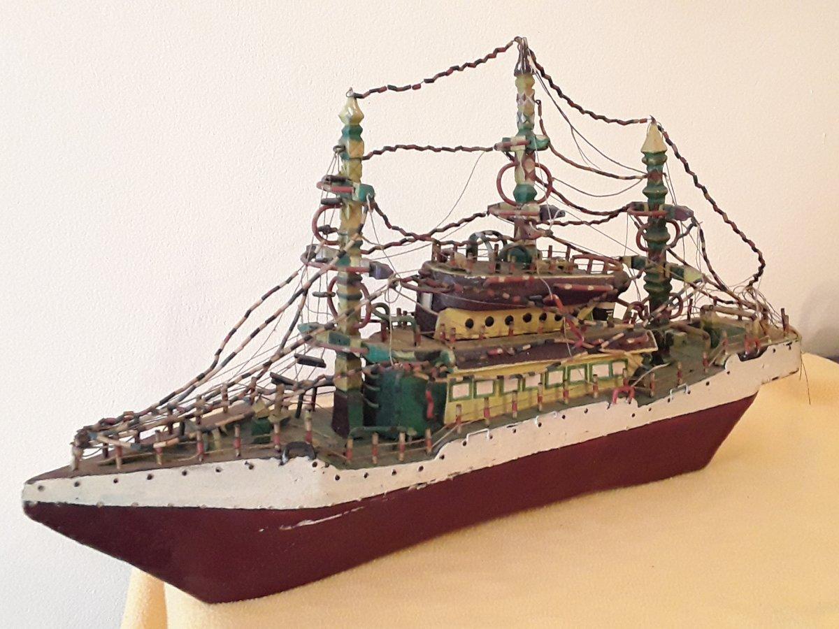 Boat Art Naive Art Brut Folk Art