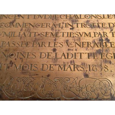 Grande Plaque En Cuivre De Messe 1638 Chalons Sur Saone