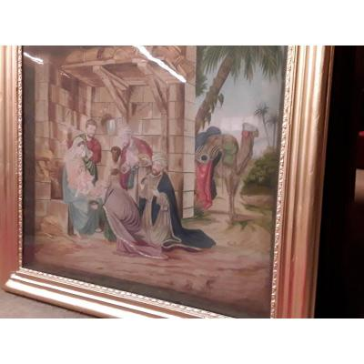 Large Three Wise Men Silk Diorama Circa 1820