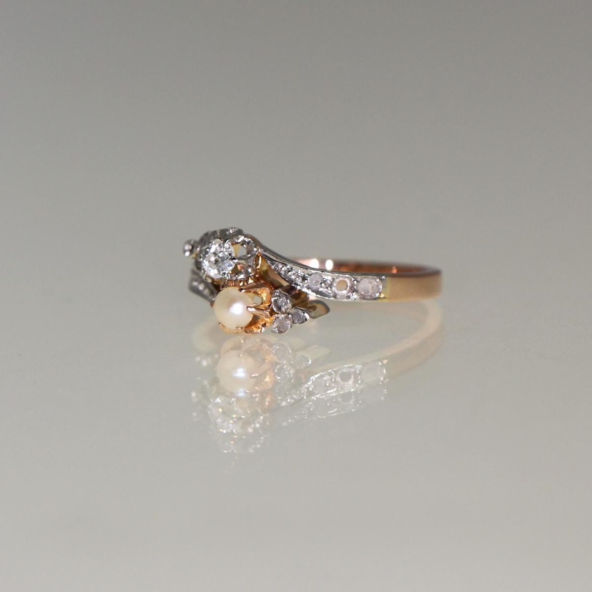 Bague Perle Et Diamants 1910-1920-photo-2