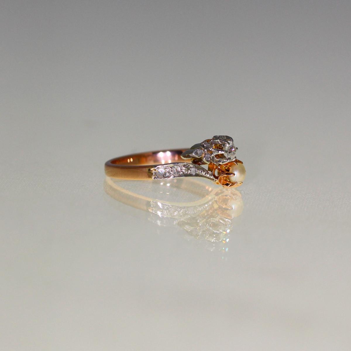 Bague Perle Et Diamants 1910-1920-photo-3