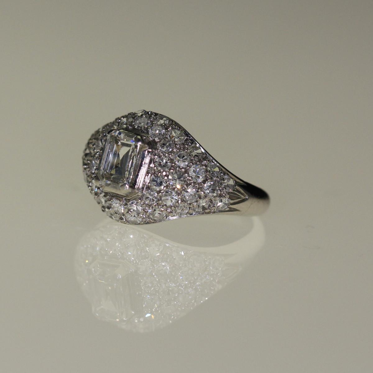 Bague Platine Et Diamants Art-déco-photo-2