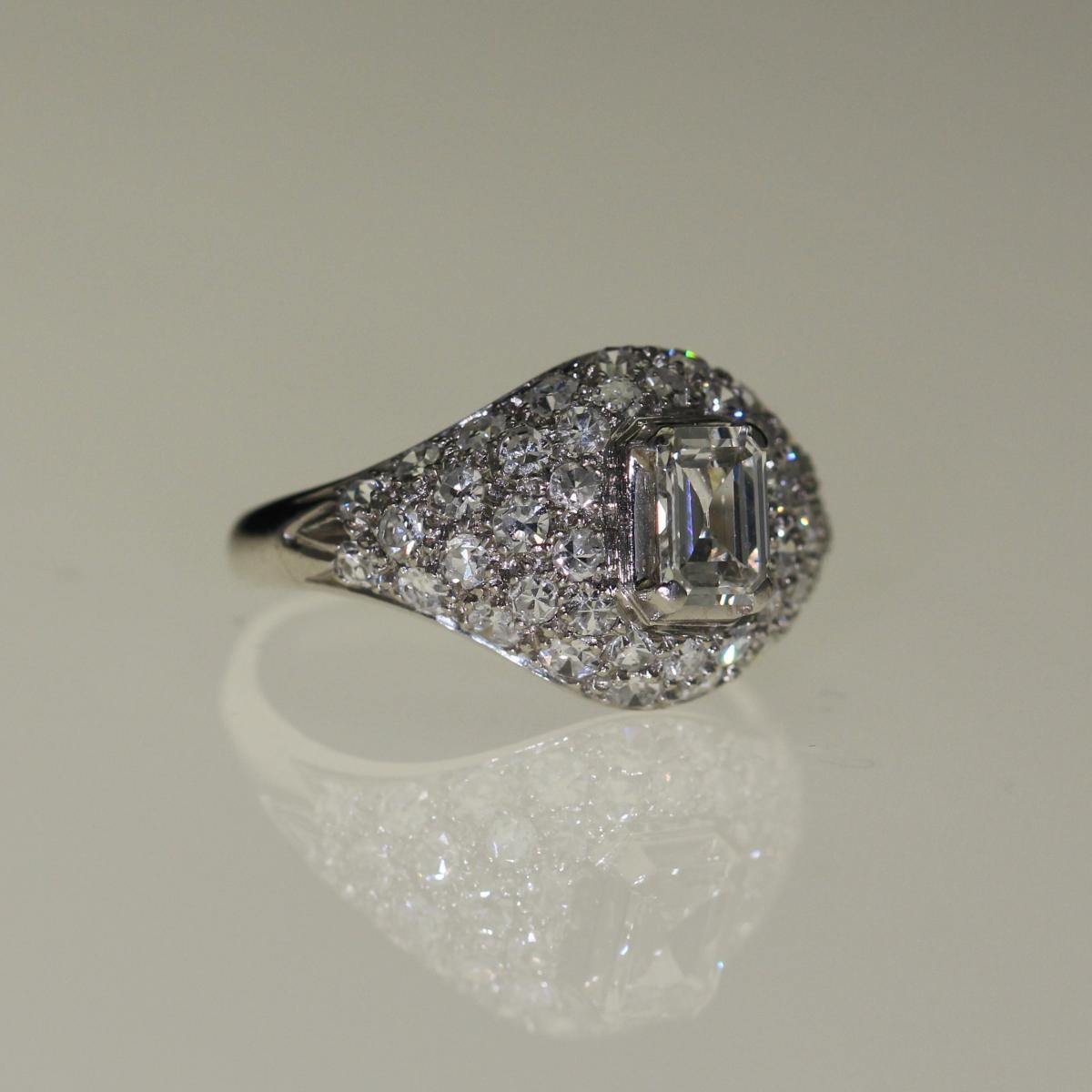 Bague Platine Et Diamants Art-déco-photo-3