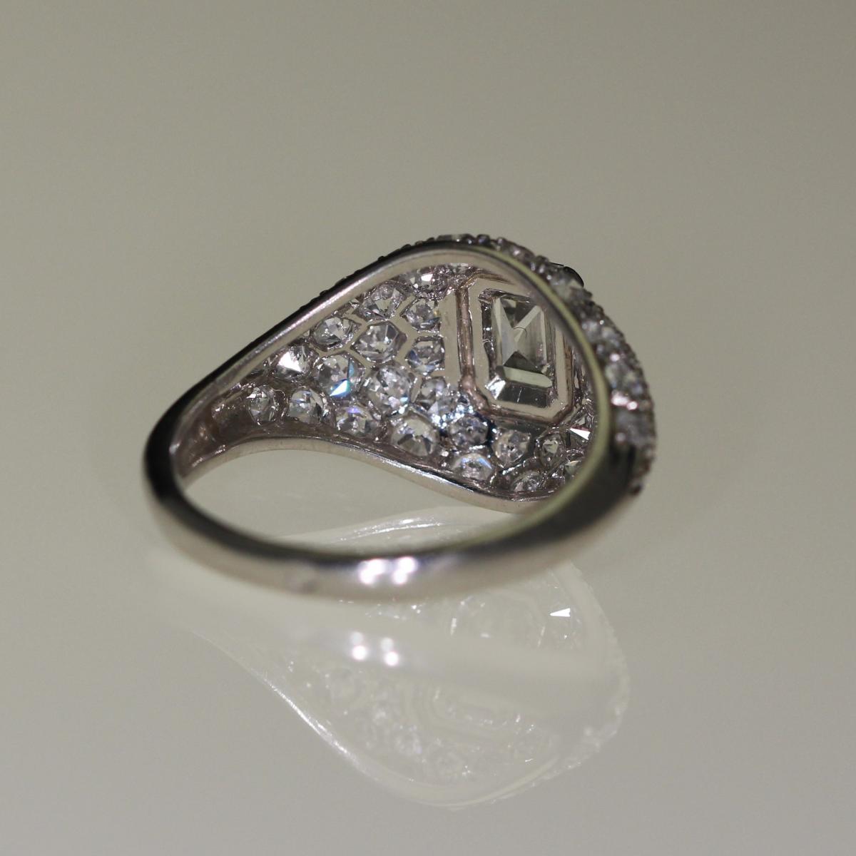 Bague Platine Et Diamants Art-déco-photo-4