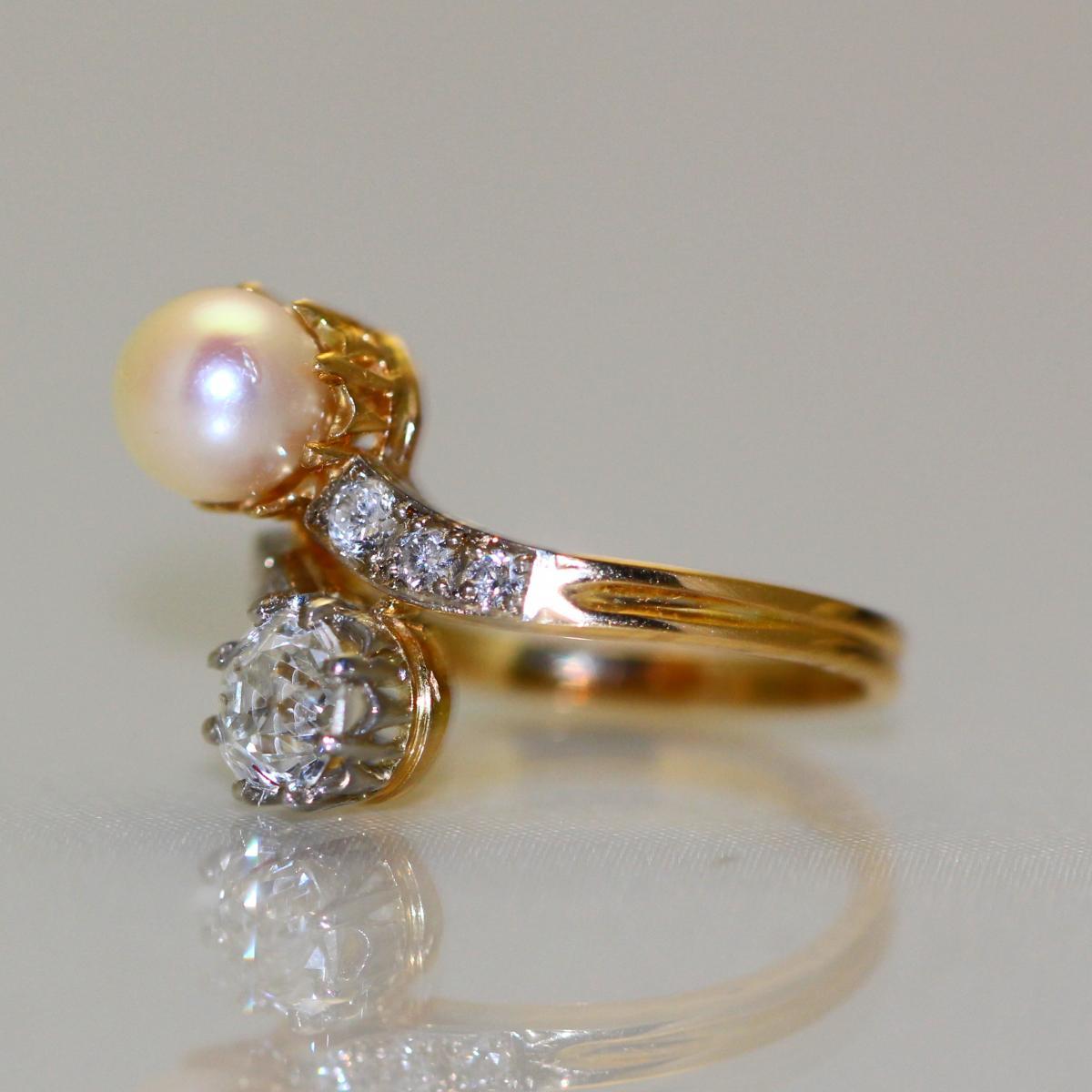 Bague Perle et Diamants 1905-1910-photo-2