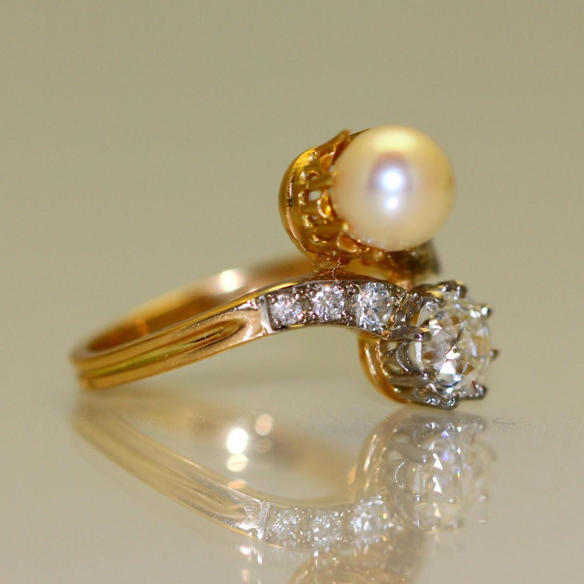 Bague Perle et Diamants 1905-1910-photo-3