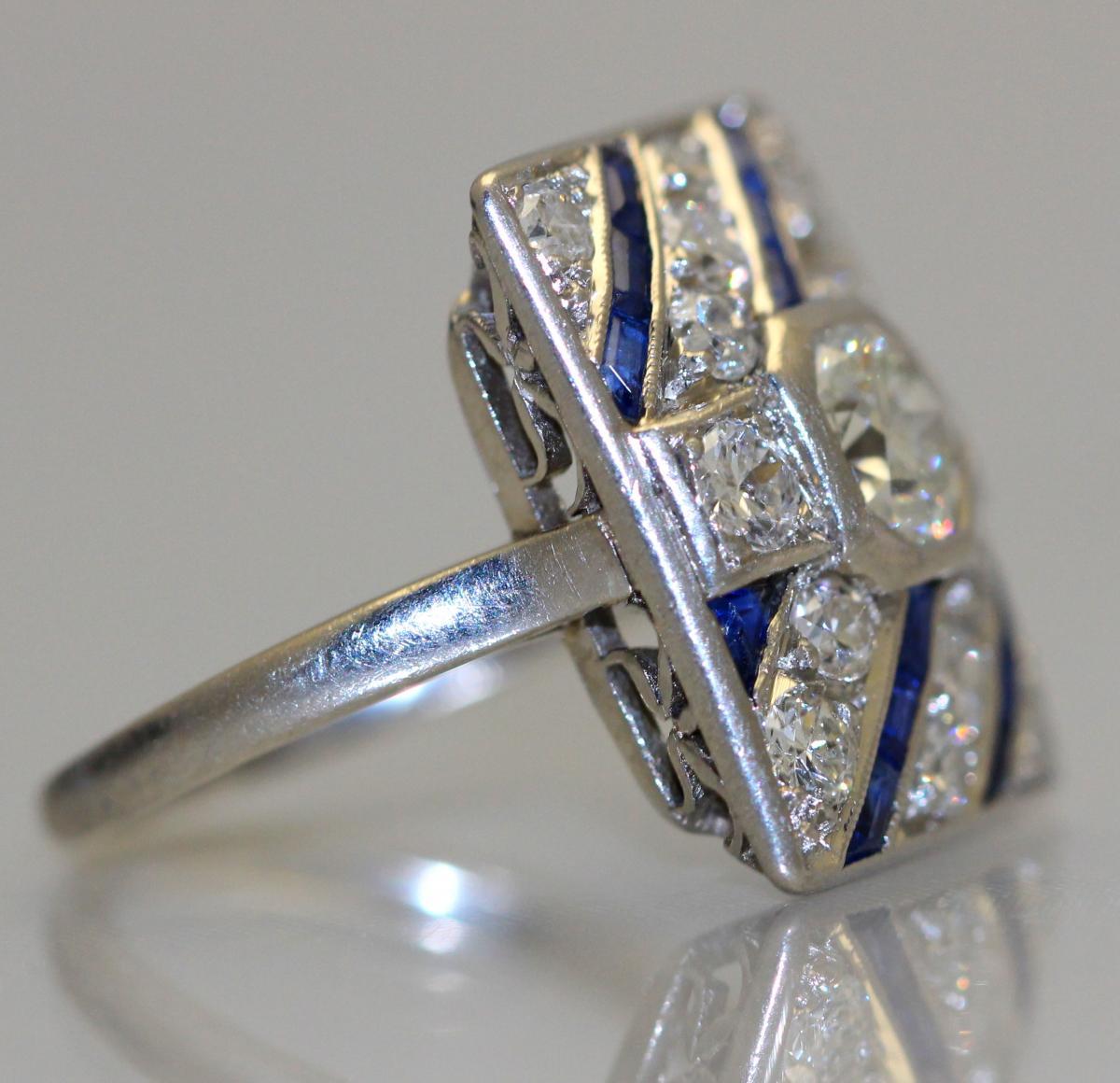 Bague Diamants Saphirs Platine 1930-photo-2