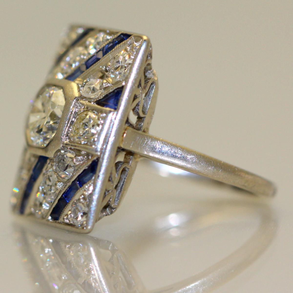 Bague Diamants Saphirs Platine 1930-photo-3