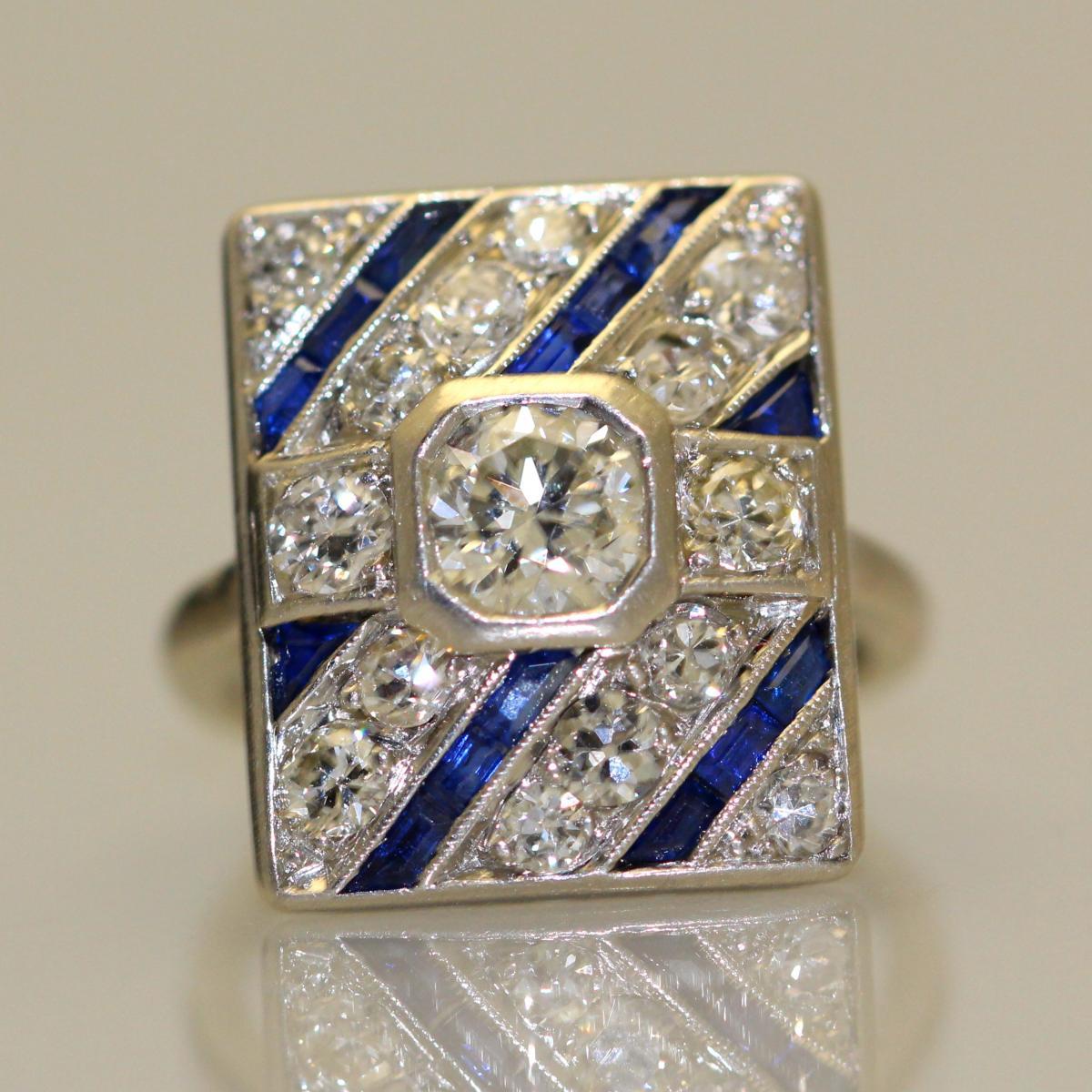Bague Diamants Saphirs Platine 1930-photo-4