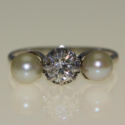 Bague Perles Et Diamant.
