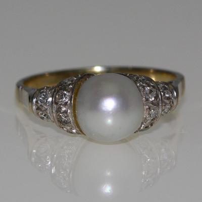 Bague 1930 Perle Et Diamants.