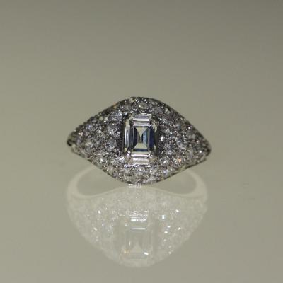 Bague Platine Et Diamants Art-déco