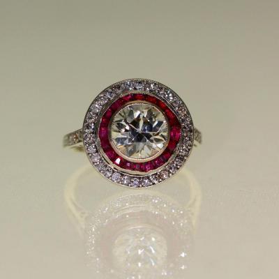 Bague Art-déco En Platine Rubis Et Diamant