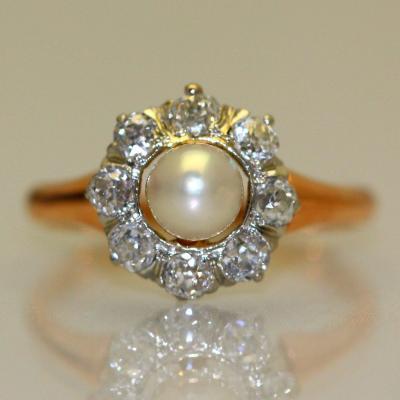 Bague Perle Et Diamants 1910 .