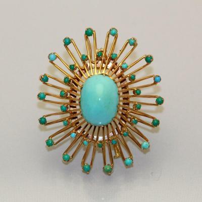 Broche Pendentif Turquoises