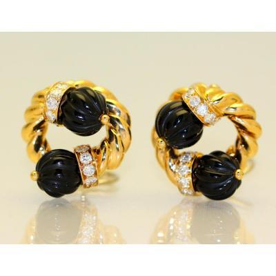 Boucles d'Oreilles Chaumet Onyx Et Diamants