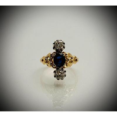 Bague Art Nouveau Saphir Et Diamants