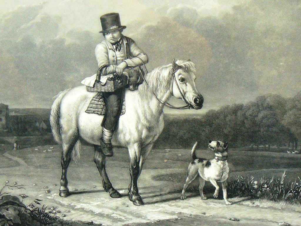 Gravure En Noire d'Epoque 1820 Jeune Garcon Sur Un Cheval , Scene Humoristique , Cadre Dore XIX-photo-2