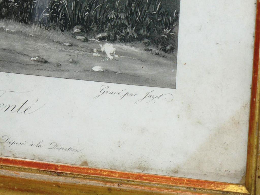 Gravure En Noire d'Epoque 1820 Jeune Garcon Sur Un Cheval , Scene Humoristique , Cadre Dore XIX-photo-3