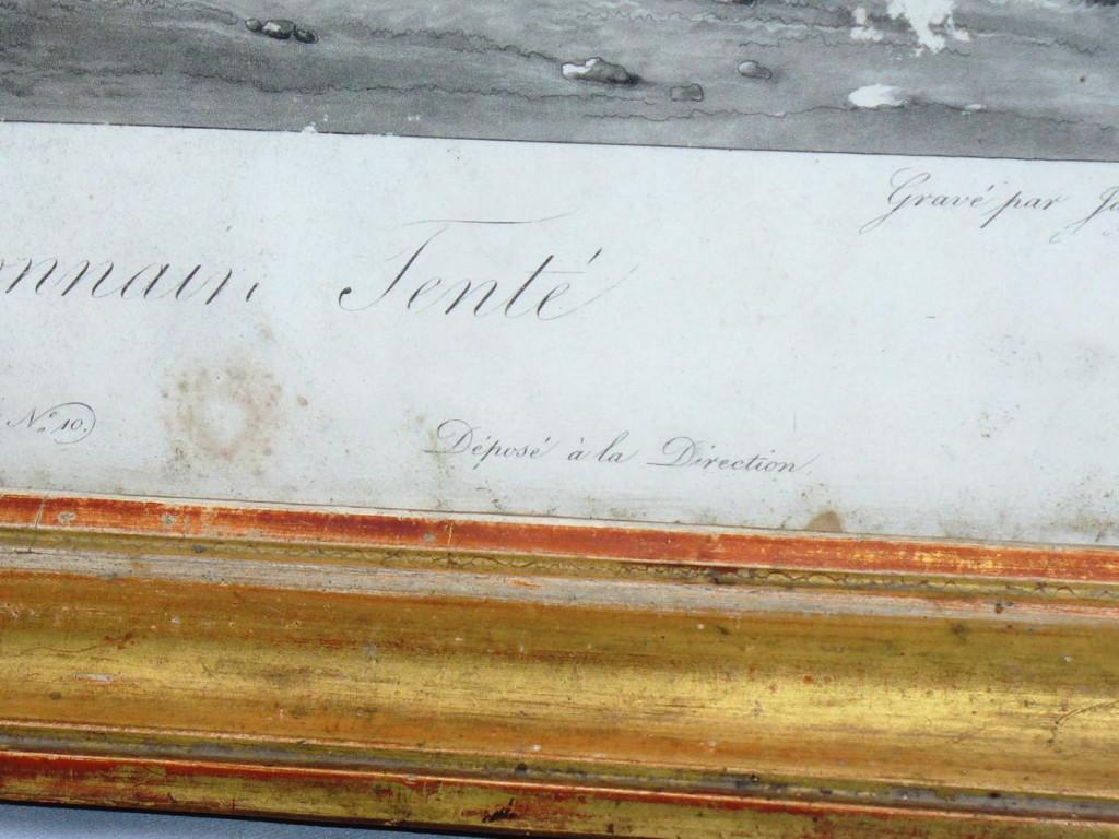 Gravure En Noire d'Epoque 1820 Jeune Garcon Sur Un Cheval , Scene Humoristique , Cadre Dore XIX-photo-4