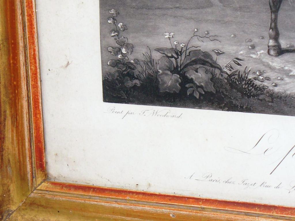 Gravure En Noire d'Epoque 1820 Jeune Garcon Sur Un Cheval , Scene Humoristique , Cadre Dore XIX-photo-1