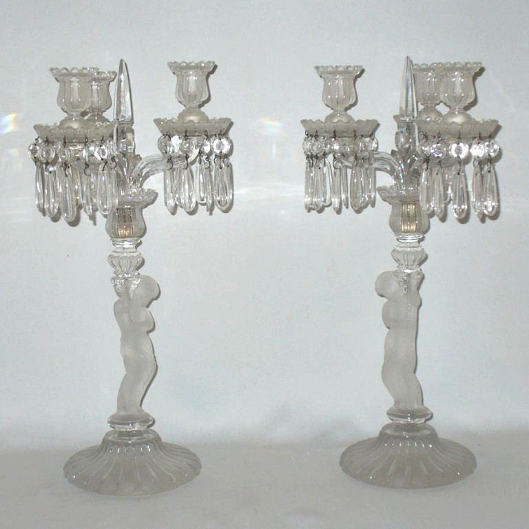 Pair Of Candlesticks / Candelabra Crystal Poli Frosted Baccarat, Putti XIXth Angletos