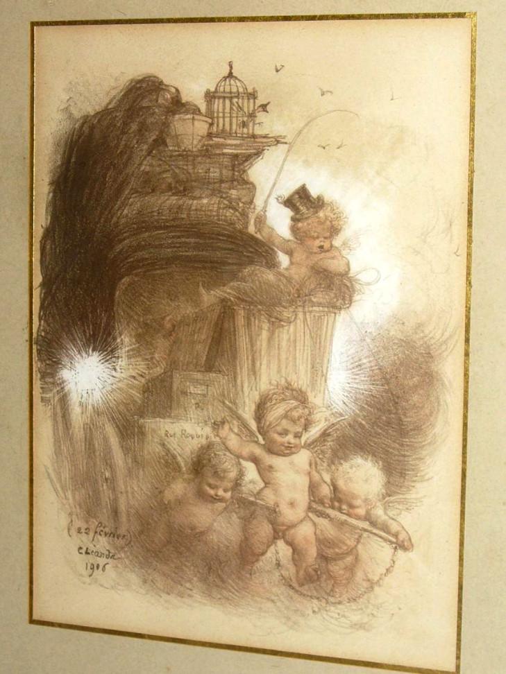 Gravure Humoristique De Charles Leandre, Epoque 1906 , Char & Puttis